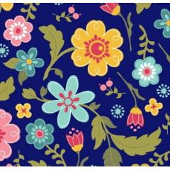 tecido florescer / floral fundo azul marinho - 0,50cm x 1,50m
