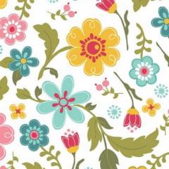 tecido florescer / floral fundo branco - 0,50cm x 1,50m