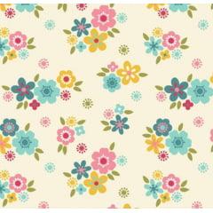 tecido florescer / flores pequenas fundo marfim - 0,50cm x 1,50m