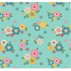 tecido florescer / flores pequenas fundo azul - 0,50cm x 1,50m