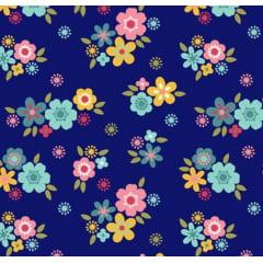 tecido florescer / flores pequenas fundo azul marinho - 0,50cm x 1,50m