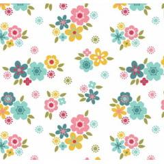 tecido florescer / flores pequenas fundo branco - 0,50cm x 1,50m