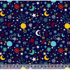 tecido nacional - constelação - 0,50cm x 1,50m