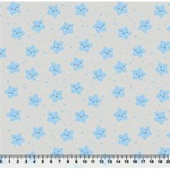 tecido nacional - estrelas fofinhas / azul c/fundo cinza - 0,50cm x 1,50m