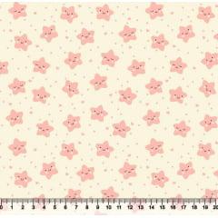 tecido nacional - estrelas fofinhas / rosa c/fundo bege - 0,50cm x 1,50m
