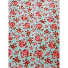Tecido Nacional - floral bahamas / fundo turquesa