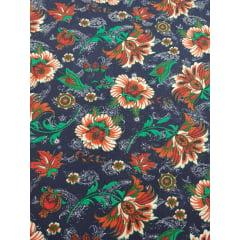 tecido nacional - floral / fundo azul marinho