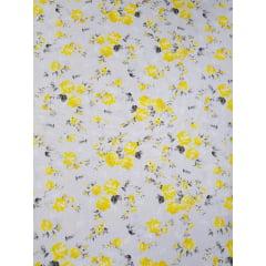 Tecido Nacional - flores bahamas / fundo cinza