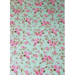 Tecido nacional - flores bahamas / fundo turquesa