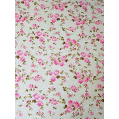 Tecido Nacional - flores bahamas / rosa com fundo cinza