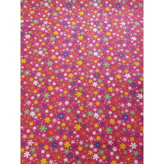 Tecido nacional - Flores c/fundo rosa
