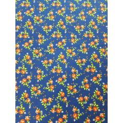 Tecido nacional - Flores pequenas / fundo azul