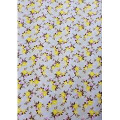 Tecido Nacional - Flores pequenas / fundo cinza