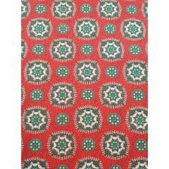 tecido nacional - mandalas / fundo vermelho