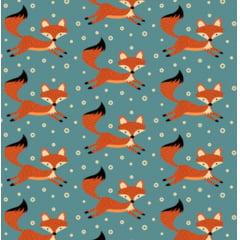 tecido raposa fundo azul - 0,50cm x 1,50m